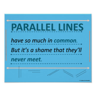 Math Humour Quote Parallel Lines Poster