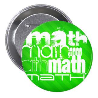 Math; Neon Green Stripes 3 Inch Round Button