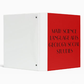 MATH SCIENCE LANGUAGE ARTS GEOLOGY SOCIAL STUUDIES 3 RING BINDERS