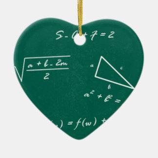 math teacher algebra geek ceramic heart ornament