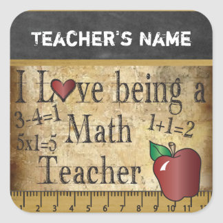 Math Teacher Vintage Unique Style | Teacher Square Sticker