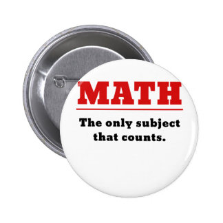 Math the Only Subject that Counts 2 Inch Round Button