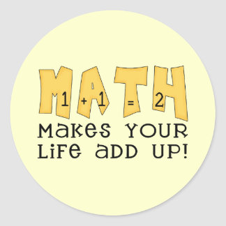 Math Tshirts and Gifts Classic Round Sticker