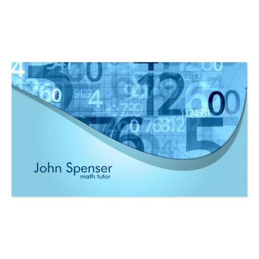 Math Tutor Blue Numbers Business Card
