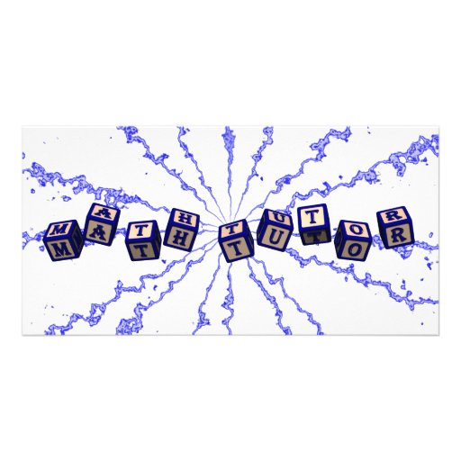 Math Tutor toy blocks in blue Personalized Photo Card