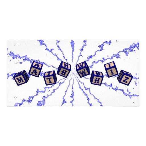 Math Whiz toy blocks in blue Custom Photo Card