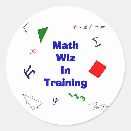 Math wiz in training classic round sticker