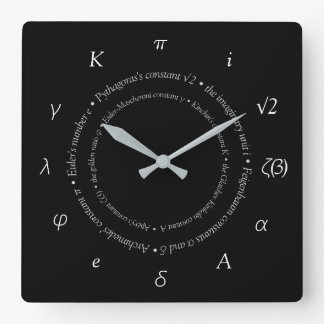Mathematical Constants Square Wall Clock