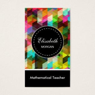 Mathematical Teacher- Colorful Mosaic Pattern Business Card