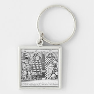 Mathematician Monks: one teaching the Globe Silver-Colored Square Keychain