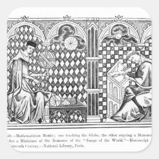 Mathematician Monks: one teaching the Globe Square Sticker