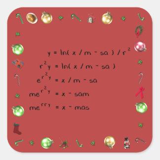 Mathematics Christmas Wish Square Sticker