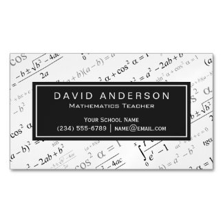 Mathematics Teacher Stylish Math Formulas Pattern Magnetic Business Card