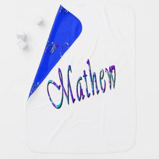 Mathew,  Logo, Name, Reversible Baby Blanket. Baby Blanket