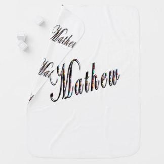 Mathew,  Logo, Name, White Snugly Baby Blanket. Baby Blanket