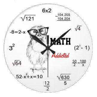 Maths addicted nerdy owl wallclocks