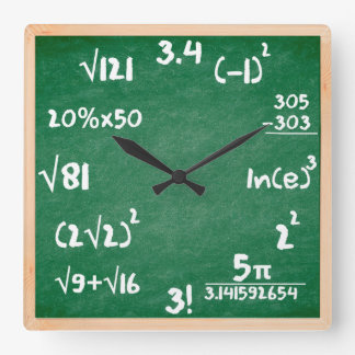 Maths Clock with Wooden border