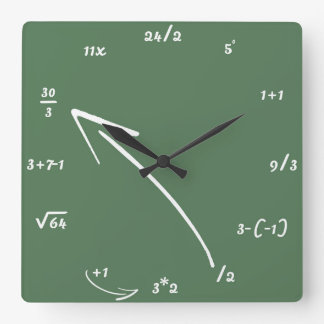 Maths Mathematical Equations Square Wall Clock