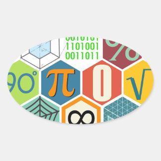 maths oval sticker
