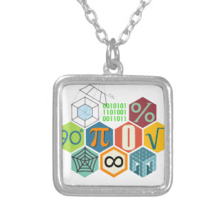 maths silver plated necklace