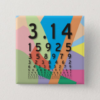 Maths: the colorful mathematical constant of Pi 2 Inch Square Button