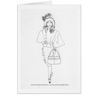 Matisse Doll Fashion Watercolor- Black CapeDress Card