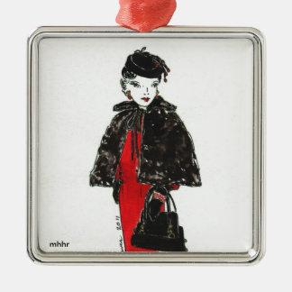 Matisse Fashion Watercolor - Black Fur Cape Metal Ornament