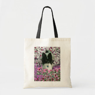 Matisse in Flowers - White & Black Papillon Dog