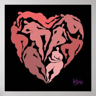 Matisse inspired figures in heart shape poster