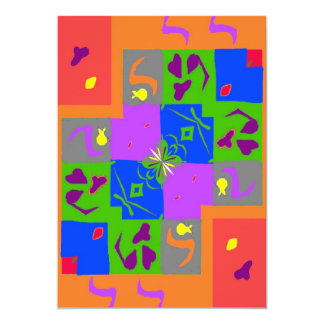 """Matisse Style Shapes 5"""" X 7"""" Invitation Card"""
