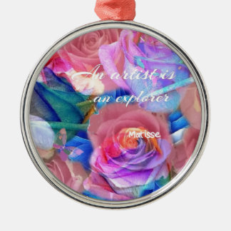 Matisse's quote in pink flowers metal ornament