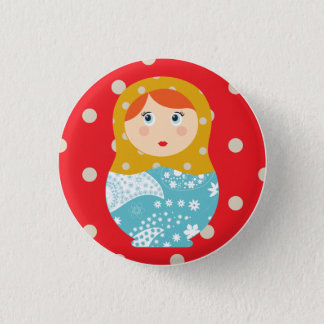 matriochka swipes in red 1 inch round button