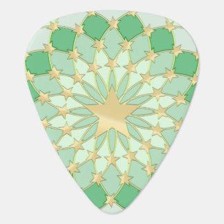 Matrix golden stars expanding circles pastel green guitar pick