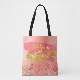 Matron of Honor Dreamy Pink Gold Wedding Party Tote Bag