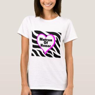 Matron Of Honor (Heart Zebra Print) T-Shirt