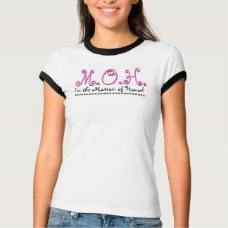Matron of Honor Wedding T-Shirt - Black White Pink