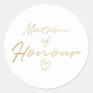 Matron of Honour - Gold faux foil sticker