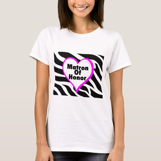 Matron Of Honour (Heart Zebra Print) T-Shirt