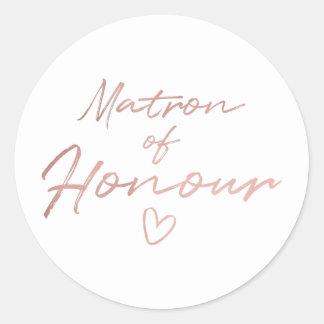 Matron of Honour - Rose Gold faux foil sticker