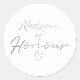 Matron of Honour - Silver faux foil sticker