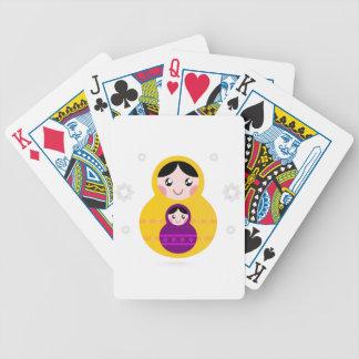 Matroshka yellow purple on white bicycle playing cards