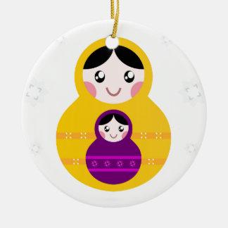 Matroshka yellow purple on white ceramic ornament