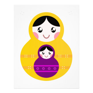 Matroshka yellow purple on white letterhead