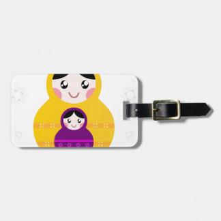 Matroshka yellow purple on white luggage tag