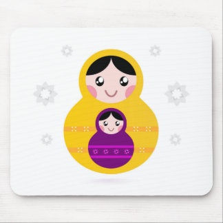 Matroshka yellow purple on white mouse pad