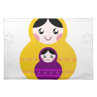 Matroshka yellow purple on white placemat