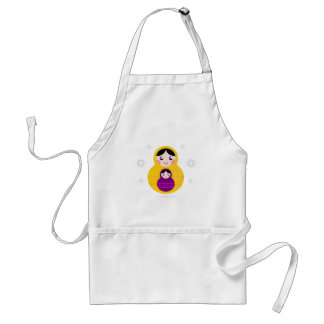 Matroshka yellow purple on white standard apron