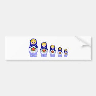 Matryoschka dolls blue bumper sticker