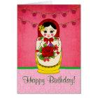 Matryoshka Babushka Doll Damask Birthday Card