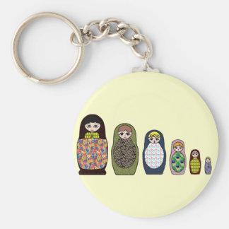 Matryoshka Basic Round Button Keychain
